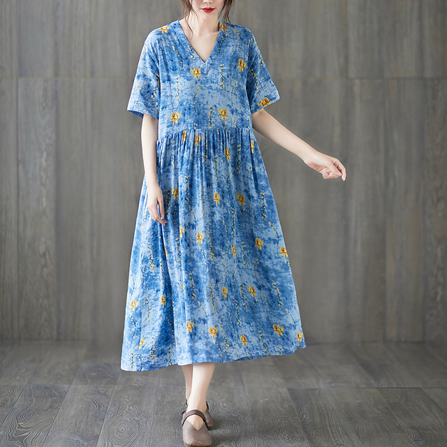 Uego Short Sleeve Loose Summer Dress Soft Cotton Linen Print Floral tender Ladies Dress Plus Size Women Holiday Casual Dress 6