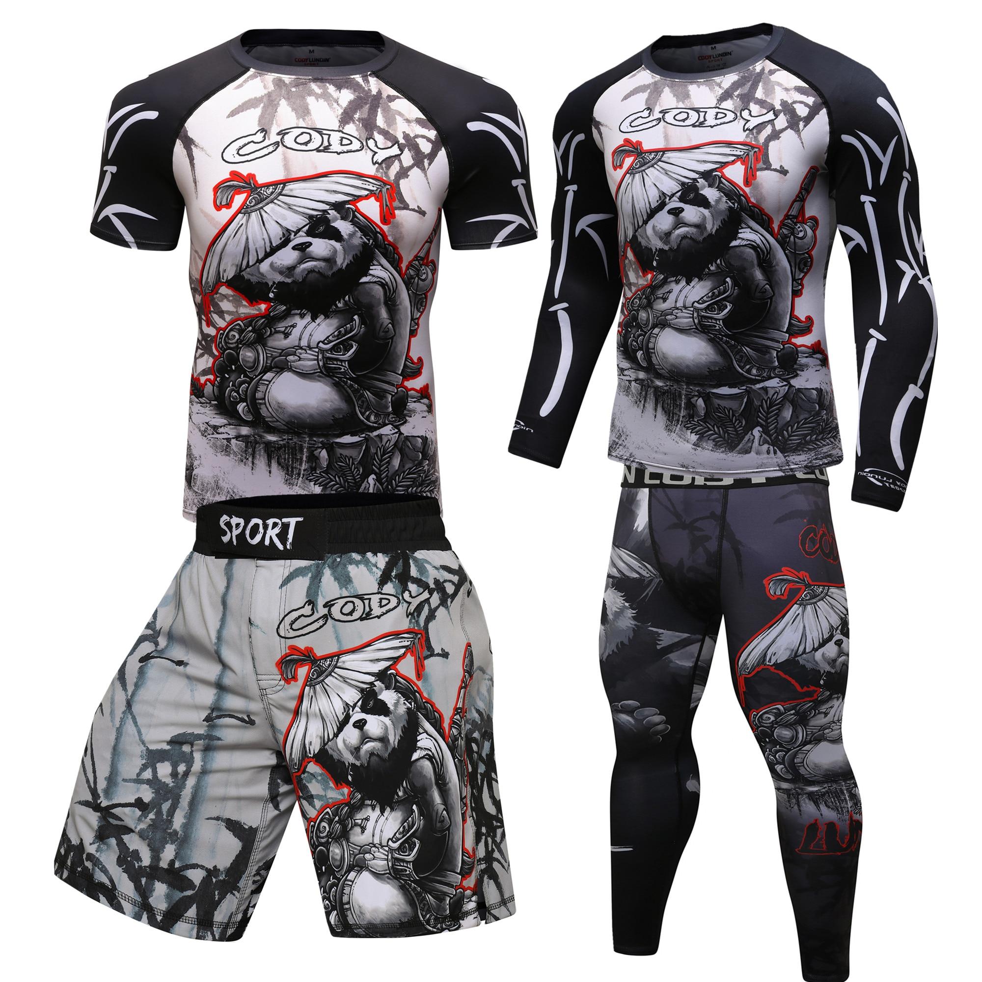 Boxing T-shirts + Hosen Men MMA Shorts Rashguard Mma Boxing Tricks Anzüge Muay Thai Jiu Jitsu Bjj T-shirt BoxeoGym Training Gear