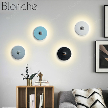 Modern Round LED Dimming Wall Lamp Sconce Nordic Minimalist Wall Lamp Home Bedroom Bedside Bathroom Docor Creative Fixtures