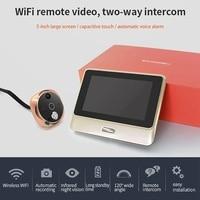 5 Inch Wifi Digital Door Peephole Viewer Camera IR Night Vision Motion Video Record Doorbell Detect APP Intercom Door Viewer
