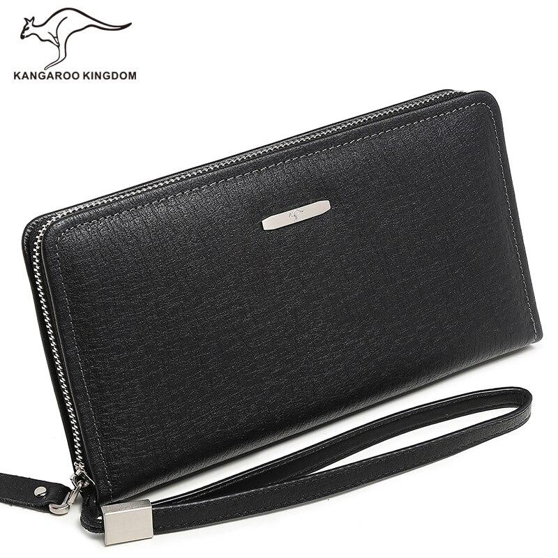 Canguru reino famosa marca de moda masculina carteiras longo couro genuíno negócios embreagem zíper carteira grande capacidade bolsa do telefone