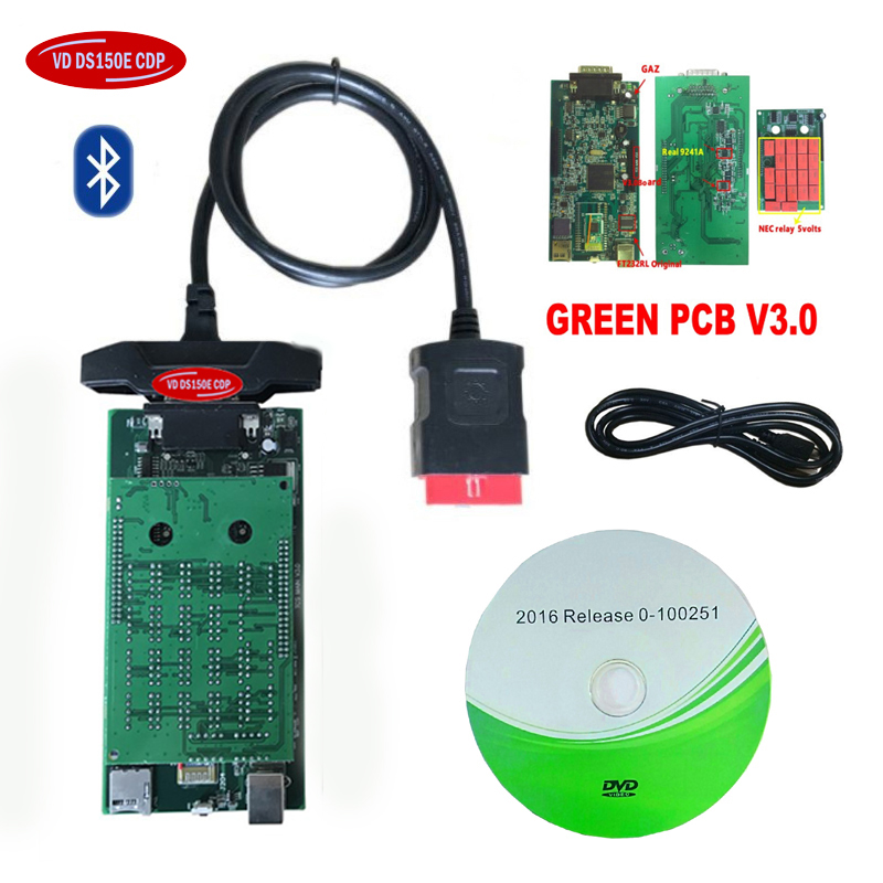 2020 New vci 3.0 green pcb with bluetooth scanner for delphis <font><b>VD</b></font> <font><b>DS150E</b></font> CDP 2016R0 keygen obd obd2 cars trucks diagnostic tool image