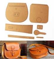 diy Leather kraft handbag sewing pattern diy handmade craft template size 21x19x6.5cm