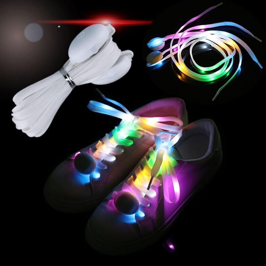 New LED Sport Shoe Laces Fashion Club Disco Dancing Party Running Light Up Glow Multicolor Men Shoelaces Luminous Shoe Strings