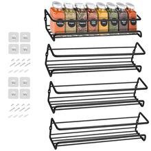 4Pack Wall Mount Spice Rack Organizer Metal Hanging Spice Racks Single Layer Seasoning Organizer Rack for Door, Cupboard, Pantry