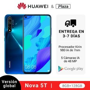 Глобальная версия Huawei Nova 5 T 5 T 8GB 128GB смартфон 48MP камеры Фронтальная камера 32MP 6,26 'экран Kirin 980 Android 9