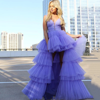 Eightree Long A line Prom Dresses High Low Lilac Charming Formal Prom Dress Tulle Sleeveless Prom Gown Tiered Short Party Dress