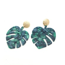 Bohemian tree leaves long pendant Acrylic earrings Big Green tortoise shell Statement Women fashion Plant Jewelry