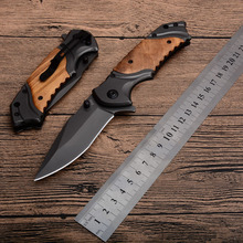 "8.3"" Survival Outdoor Tool With Wood Handle knife 440C Steel Blade Tactical Folding Knife Pocket Hunting Camping Knife"