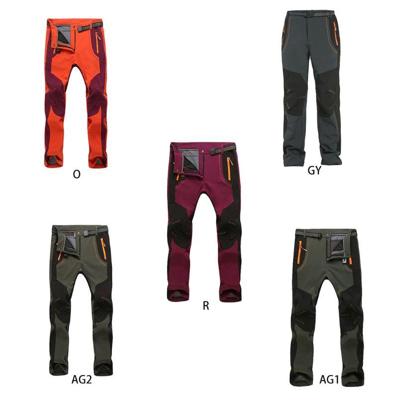 Men Women Outdoor Softshell Waterproof Hiking Pants Winter Windproof Thicken Thermal Snow Ski Trousers With Belt Zipper Pockets