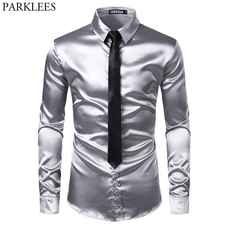 2pcs Silver Silk Shirt+Tie Mens Satin Smooth Tuxedo Shirts Casual Button Down Men Dress Shirts Wedding Party Prom Chemise Homme