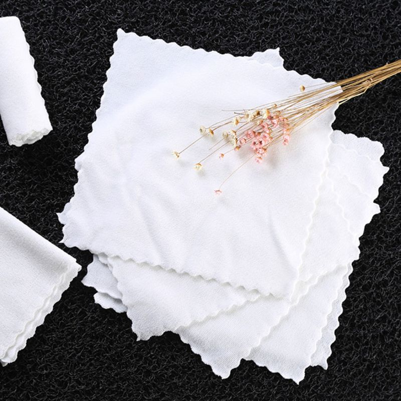 10 Pcs White Square Napkin Wmbossed Fiber Wipes Handkerchief For Hotel Restaurant Cut Edge Lace Cleaning Rag