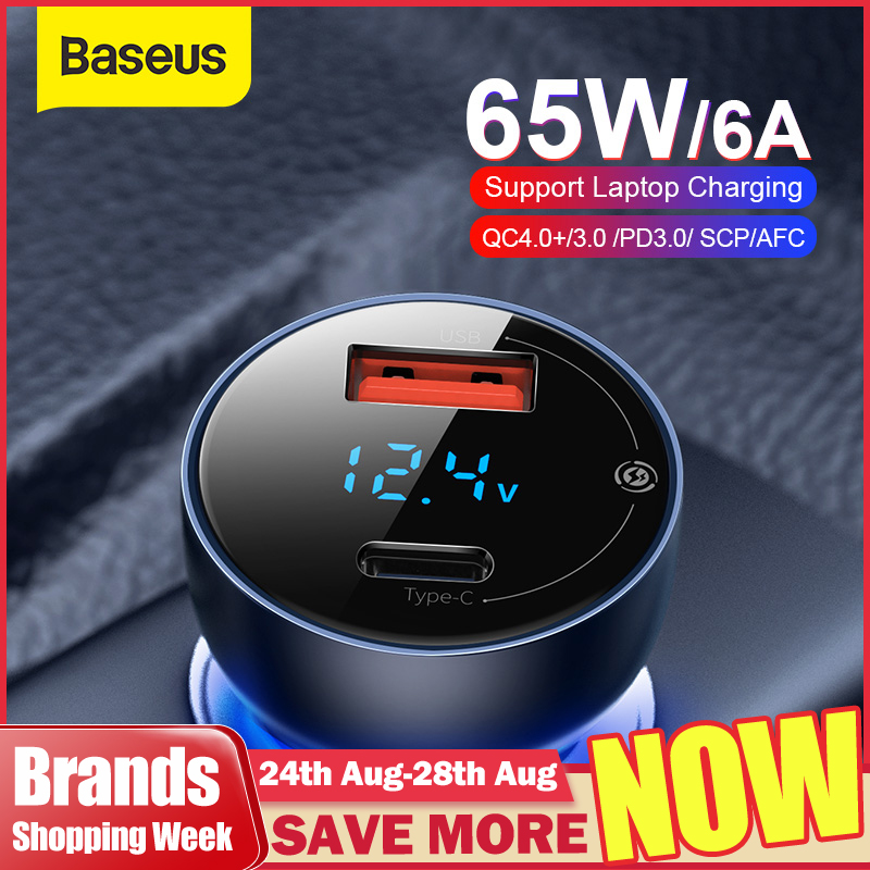 Baseus 65W Car Charger Dual USB Quick Charge 4.0 3.0 USB Car Charger for Huawei SCP QC4.0 QC3.0 Fast Charging Charger For iPhone 1
