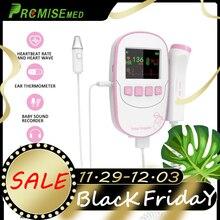 Fetal Doppler With Ear Thermometer, Premium Professional 2MHZ Detector, Portable Pregnancy Angel Sounds Heartbeat Monitor-Pink татуировка переводная heartbeat