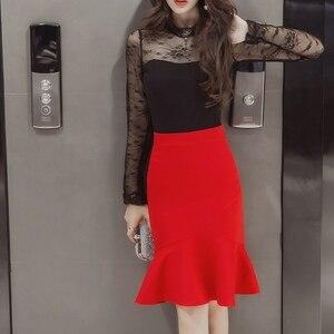 Image 3 - S 5XL 2020 Women Pencil Skirt Fashion OL Slim Bodycon Business Wear Ruffles Hem Mermaid Style Plus Size Ladies Office Skirt