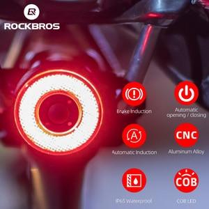 ROCKBROS Smart Bicycle Bike Rear Light Auto Start/Stop Brake Sensing Light IPx6 Waterproof LED Flashlight Bicycle Accessories(China)