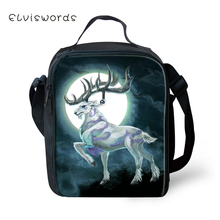 ELVISWORDS Childrens School Insulated Lunch Bags Fantasy Moon Deer Pattern Kids Water-proof Box Family Picnic Container