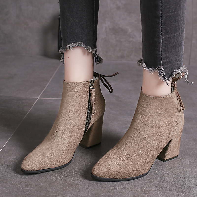 Ozhouzhan 2019 New Style Korean-style Retro High Heel Boots Children Autumn And Winter Versatile Leather Short Boots Martin Boot