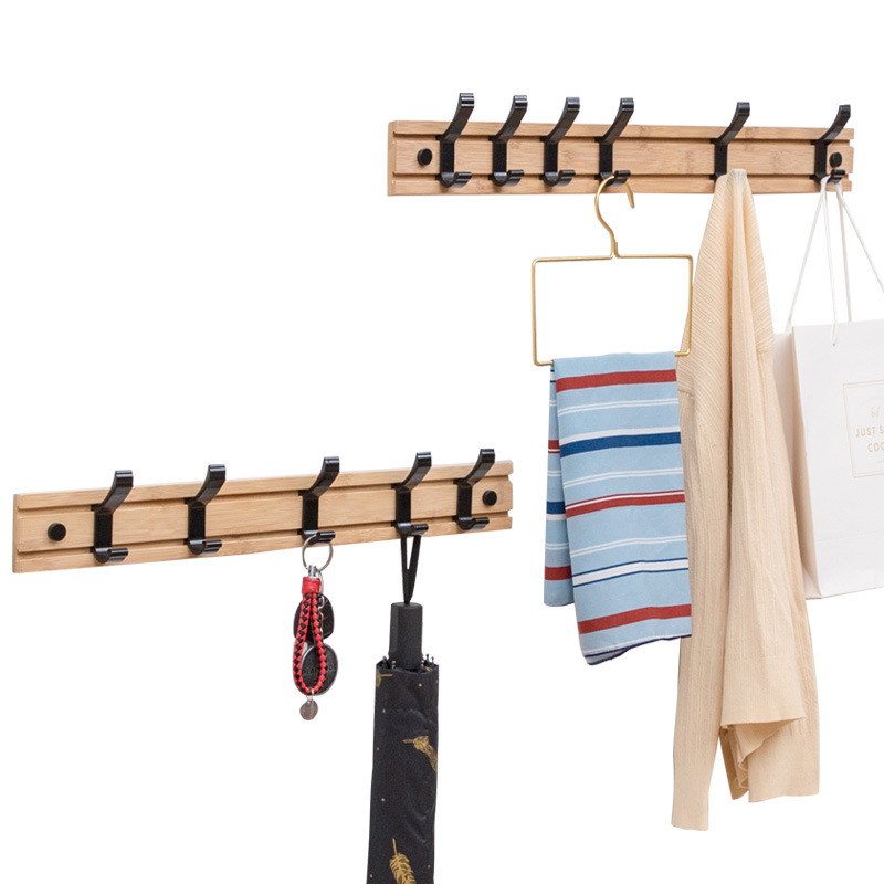 Hot Sale Nordic Wood Coat Rack Key Holder Clothes Hangers Simple Hook Wall Shelf Home Decorative Bedroom Furniture 2