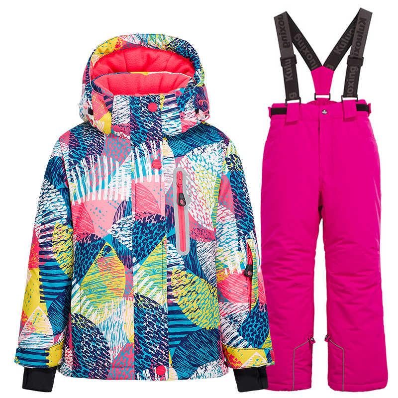 Girl/'s Boy/'s Warm Ski Suits Jacket /& Pants Set Children/'s Waterproof Snowsuits