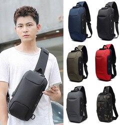 Лидер продаж, противокражная Сумка-слинг через плечо, водонепроницаемая нагрудная сумка через плечо с Usb-зарядкой, легкий походный зарядный...