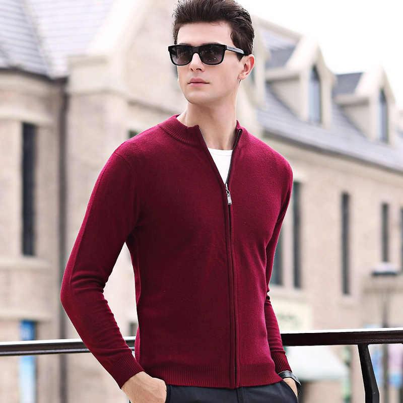 100% lã marca de moda camisola para homens cardigan fino ajuste jumpers malhas com zíper inverno estilo coreano roupas casuais dos homens