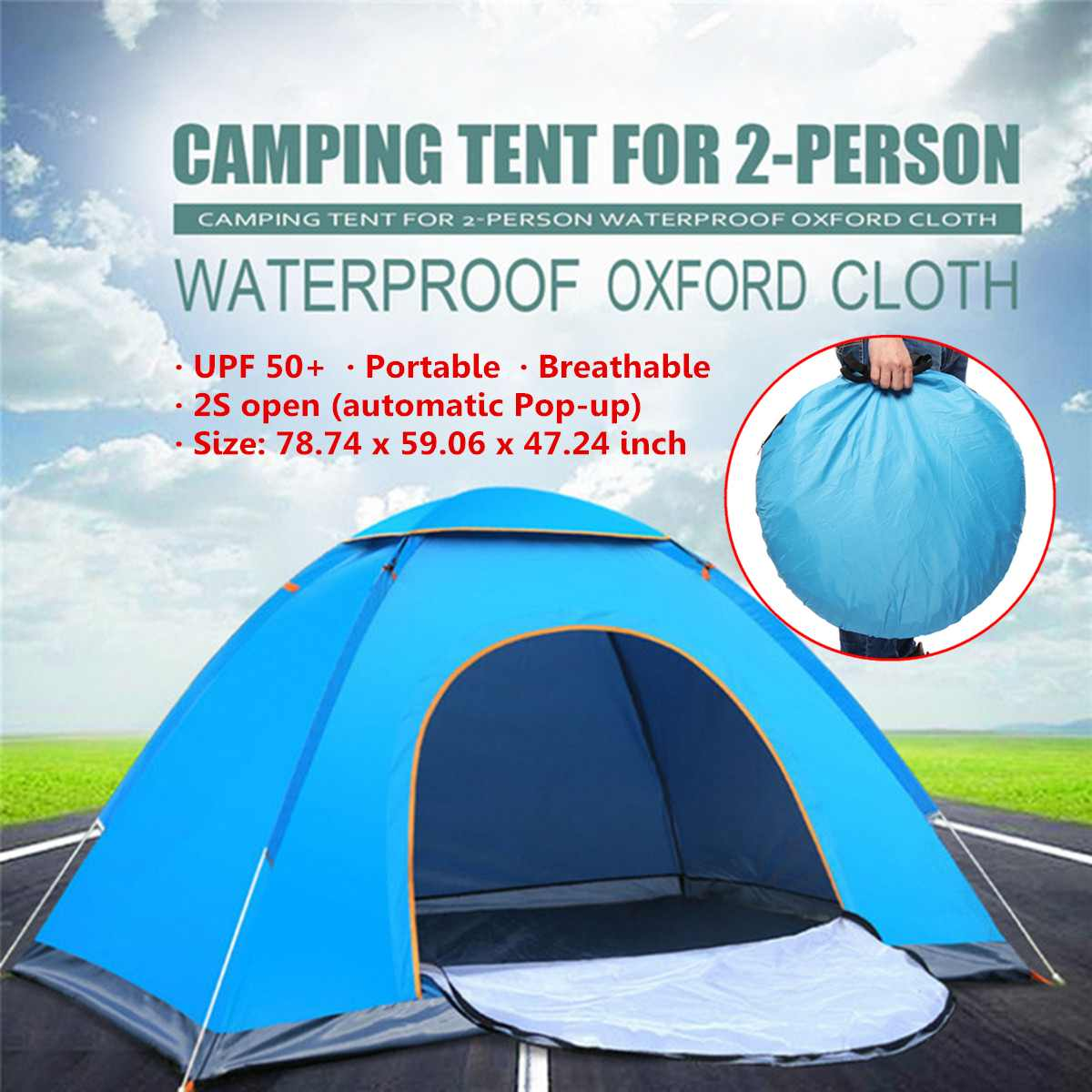 33UV Protection 2-3 Person Automatic Quick Up Outdoor Shelter Camping Tent Instant Popup Anti UV Awning Tents Outdoor Sunshelter image