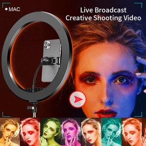 Image 2 - RGB קשת טבעת אור 33cm Dimmable Selfie מנורת עם חצובה Stand טלפון קליפ Bluetooth מרחוק עבור לחיות צילום תאורה ערכת