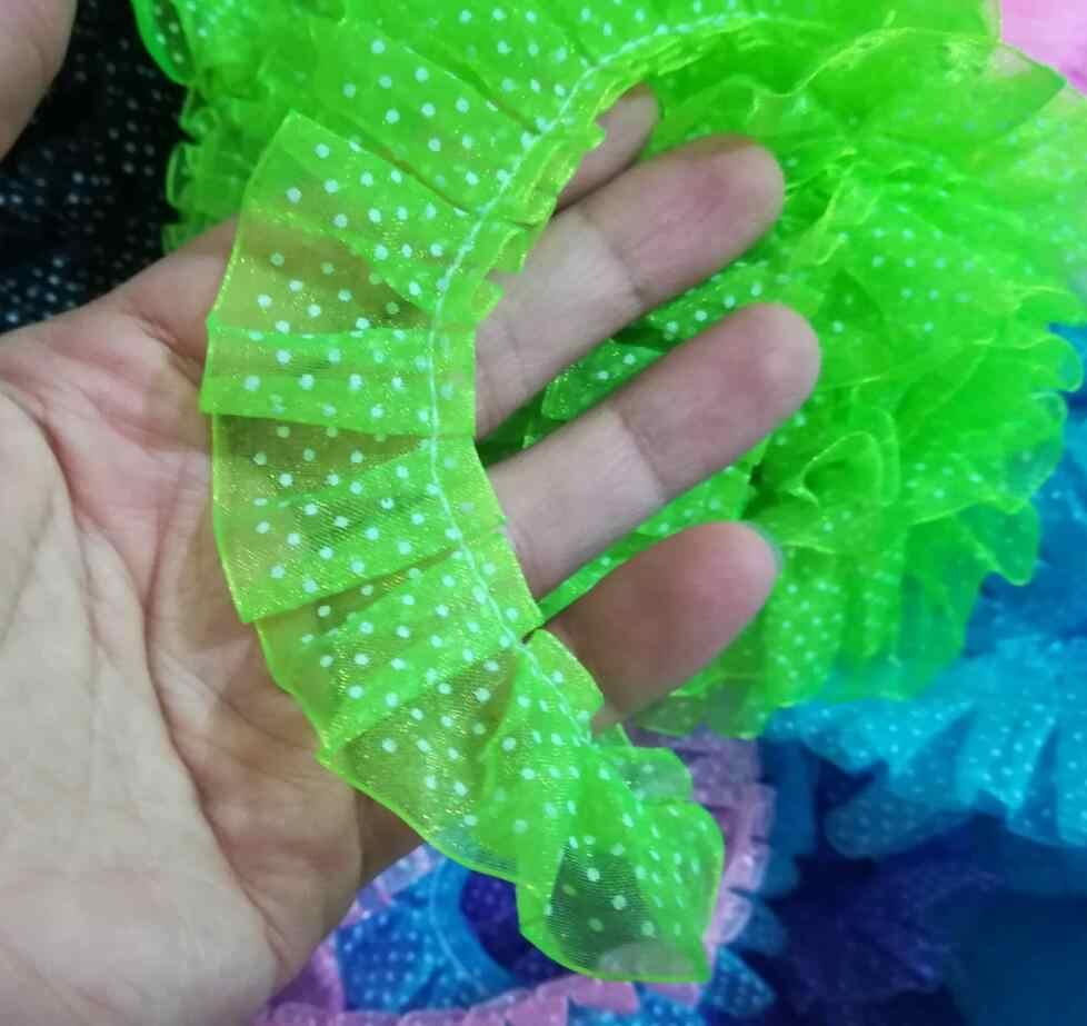1M pilili 3D dantel Trim 2.5cm dantel yaka gipür yeşil nokta dantel kumaş bebek dikiş aksesuarları için elbise encaje dentelle JH10
