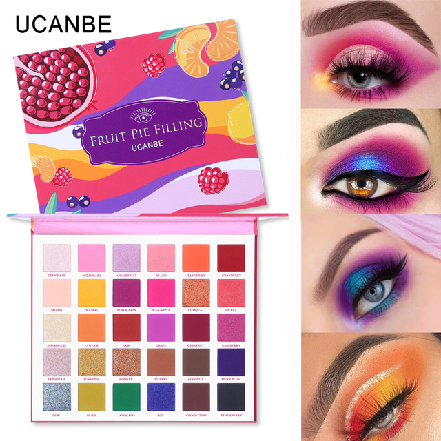 UCANBE 30 Colors Fruit Pie Filling Eye Shadow Palette Makeup Kit Vibrant Bright Glitter Shimmer Matte Shades Pigment Eyeshadow