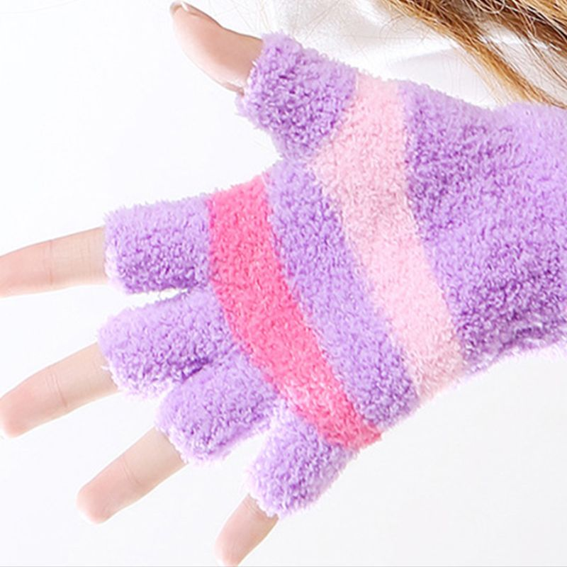 Women Men USB Powered Stripes Electric Heated Gloves Thicken Warm Fingerless Hand Warmer Motorcycle Laptop Computer Mittens A69C