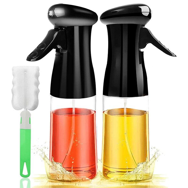 Oil Sprayer for Cooking 2PACK Set Refillable Olive Oils Dispenser Spray Versatile Vinegar Spritzer Bottles with Brush