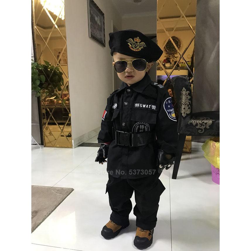 Military Uniform Halloween Costumes for Boys Carnival Party Special Force SWAT Army Suit Kids Girls Cop Police Officer Clothing image
