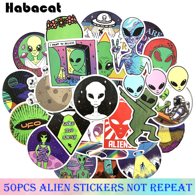 50Pcs/Set Alien Graffiti <font><b>Stickers</b></font> ET <font><b>UFO</b></font> Cartoon <font><b>Stickers</b></font> Gifts Toys for Children DIY Skateboard Laptop Car Phone image