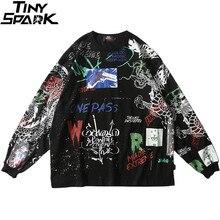 2020 uomini Streetwear Hip Hop Graffiti T Shirt Manica Lunga Harajuku Maglietta di Grandi Dimensioni Autunno Allentato T Shirt In Cotone Causale Magliette E Camicette Magliette