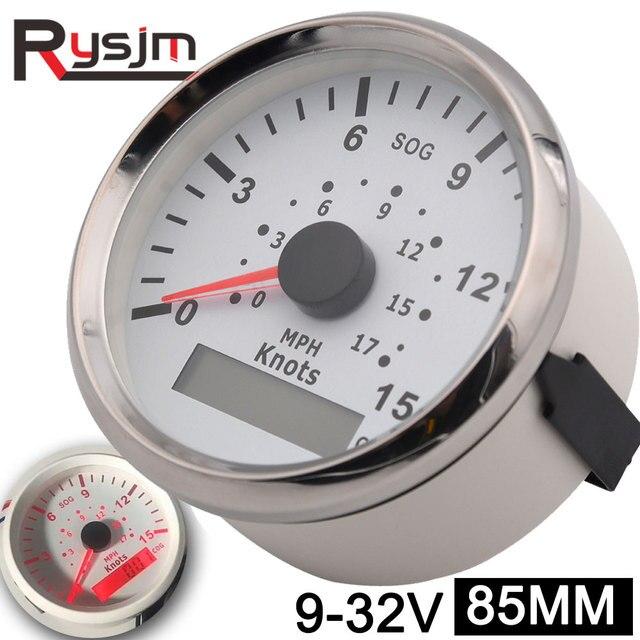 Velocímetro GPS de 85mm para motocicleta, medidor de velocidad Universal para barco y coche, 15 nudos, 0 17 MPH, 9 32V, para vehículos marinos, panel de instrumentos de 9 32V