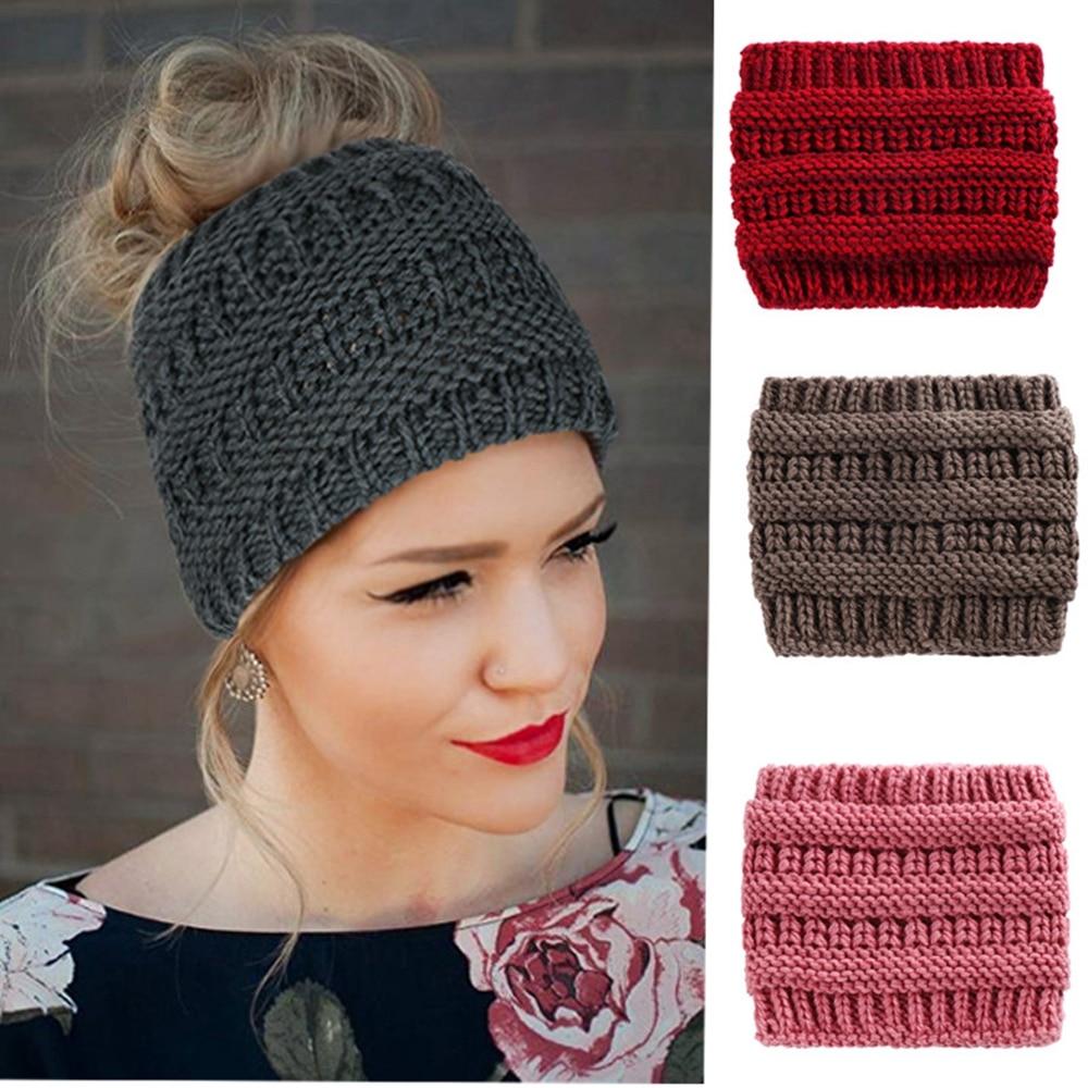 Women Winter Warm Casual Ponytail Beanie Woolen Cap Women Soft Knit Turban Hats For Ladies Headwrap Crochet Hat