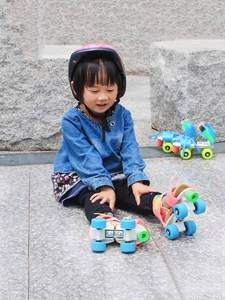 4-Wheels Skating-Shoes Roller-Sneakers Slalom Double-Row Kids Children Adjustable-Size