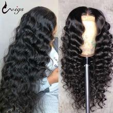 Бразильский Свободный парик Uwigs с глубокой волной, плотность 180, парики из человеческих волос на сетке спереди, парик на застежке 4x4, парик св...