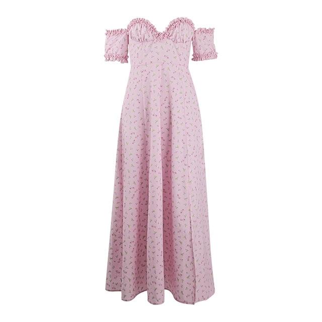 Yimunancy Floral Print Off Shoulder Midi Dress Women V Neck Elegant Dress 2020 Ladies Summer Ruched Split Party Dress Robes 6