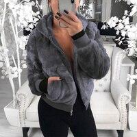 2021 płaszcz ze sztucznego futra kobiet z kapturem nowe płaszcze Oversize wysokiej talii kobiet płaszcz w rozmiarze Slim Fit topy zimowe ciepłe pluszowe kurtki znosić