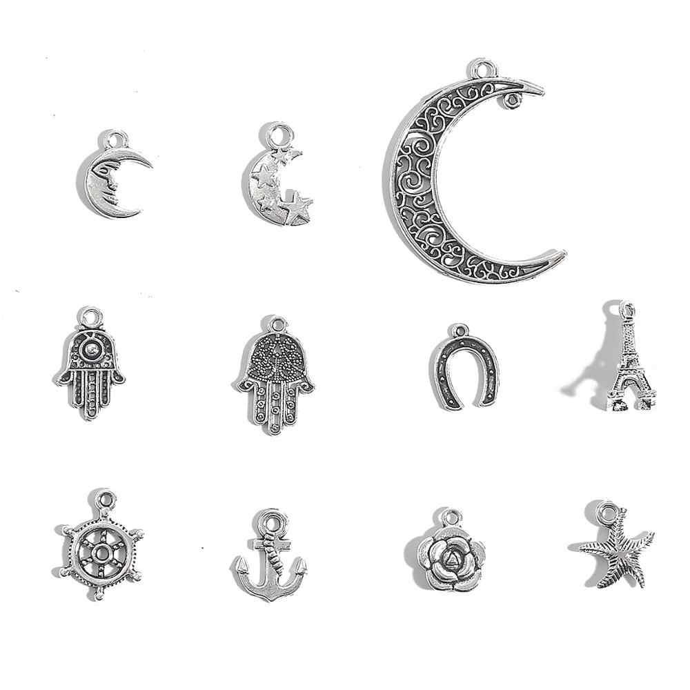 10-30 Stks/partij Vintage Zilveren Kleur Sterren Maan Hart Bedels Hangers Voor Diy Sieraden Maken Vrouwen Handgemaakte Sieraden Liefde armband