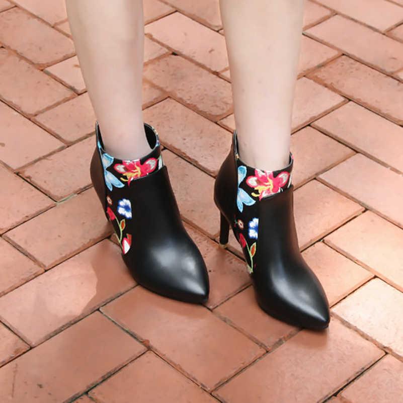 Meotina Ayakkabı Kadın Botları Yüksek Topuk yarım çizmeler Çiçek Sivri Burun Stiletto kısa çizmeler Zip Kadın Ayakkabı Beyaz Sarı 45 46