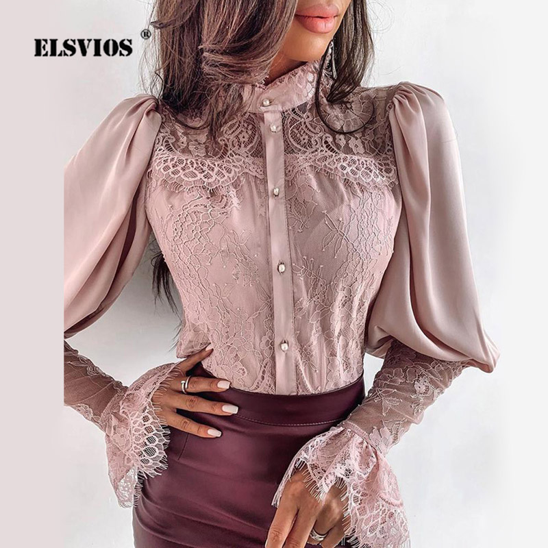 2XL Women Lace Patchwork Flare Sleeve Buttoned Blouse Chic Elegant Spring Fall Office Stand Collar Shirt Chiffon Solid Sexy Tops