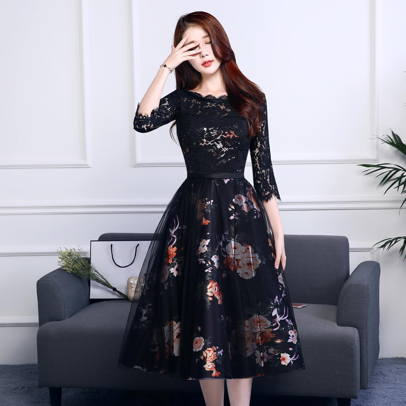 Formal Dress Women's 2019 New Style Fashion Mid-length Party Dress Korean-style Explicit Late Formal Dress