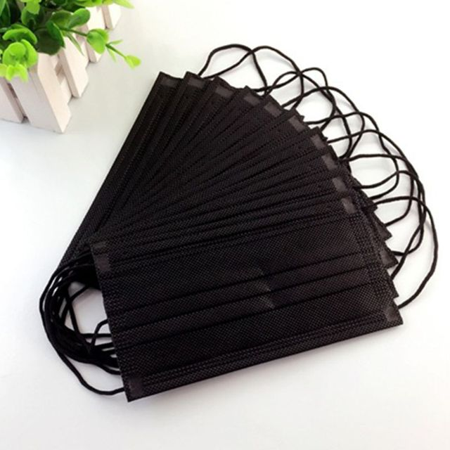 50PCS Mouth Mask Disposable Non-Woven Black Face Mouth Masks 3 Layer Anti-Dust Activated Anti Pollution Mouth-muffle 17.5x9.5cm 4