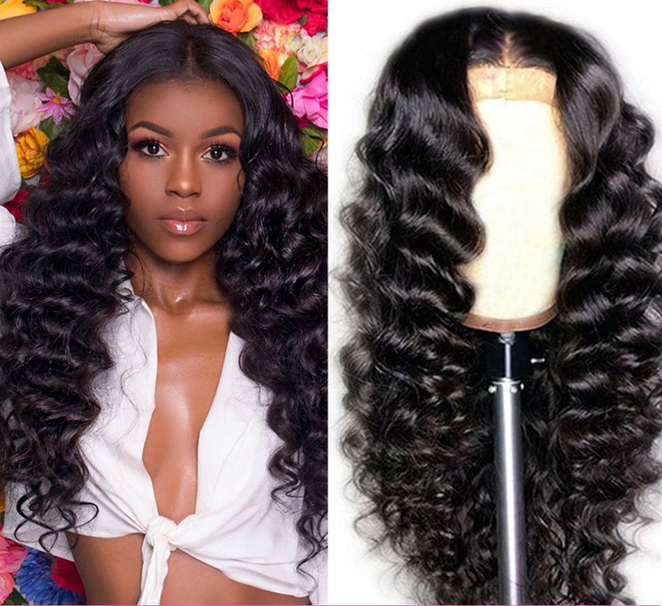 Peruvian Natural Color Loose Deep Lace Closure Wig 4x4 Human Hair Wigs 14-22 Inch Long Wavy Closure Lace Wigs For Black Women