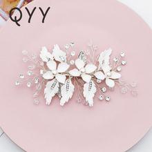 Заколки для волос ручной работы в виде цветка со стразами невесты