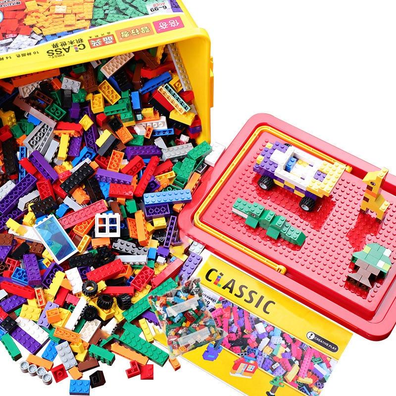 Bulk DIY Building Blocks 250-500-1000pcs Classic City Creator Colorful Bricks Educational Toys For Children