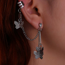 Personalizado feito à mão borboleta líquida vermelho borla zircão orelha agulha corrente brincos duplos orelha osso prego clipe de cristal
